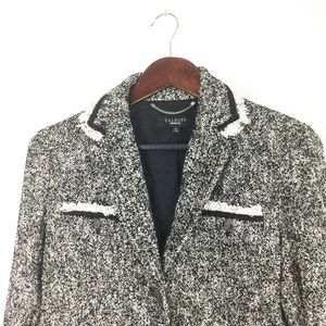 Talbots Black & White Tweed Fringe Blazer
